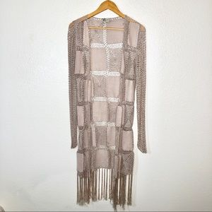 BKE Fringe Duster Cardigan Open Knit Tan Juniors L